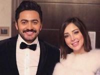 """""""فيديو"""" شاهد تامر حسني وزوجته بسمة بوسيل يغنيان باللغة الفرنسية"""