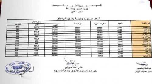 تعرف على أسعار الأرز الجديدة في العاصمة عدن (صورة)