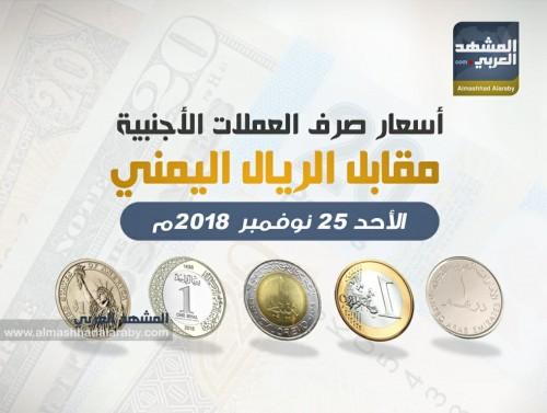 أسعار صرف العملات الأجنبية مقابل الريال اليمني اليوم الأحد 25 نوفمبر (إنفوجرافيك)