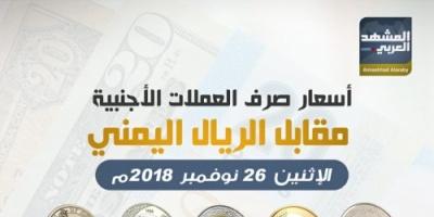 تعرف على أسعار صرف العملات الأجنبية مقابل الريال اليمني اليوم الإثنين.. إنفوجرافيك