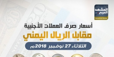 أسعار صرف العملات الأجنبية مقابل الريال اليمني مساء اليوم الثلاثاء .. انفوجرافيك