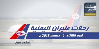 تعرف على مواعيد رحلات طيران اليمنية اليوم الثلاثاء 4 ديسمبر .. انفوجرافيك