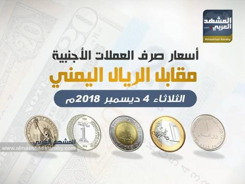 أسعار الريال اليمني مقابل العملات الأجنبية اليوم الثلاتاء 4 ديسمبر 2018 ( انفوجرافيك )
