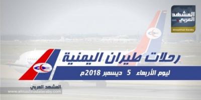 رحلات طيران اليمنية ليوم الأربعاء 5 ديسمبر 2018 م (انفوجراف )