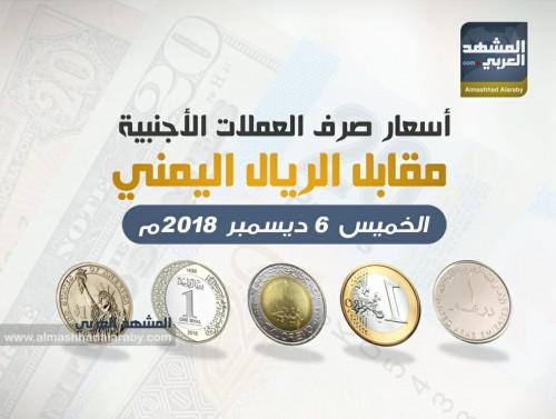 أسعار صرف العملات الأجنبية مقابل الريال اليمنى الخميس 6 ديسمبر 2018 م (انفوجراف )