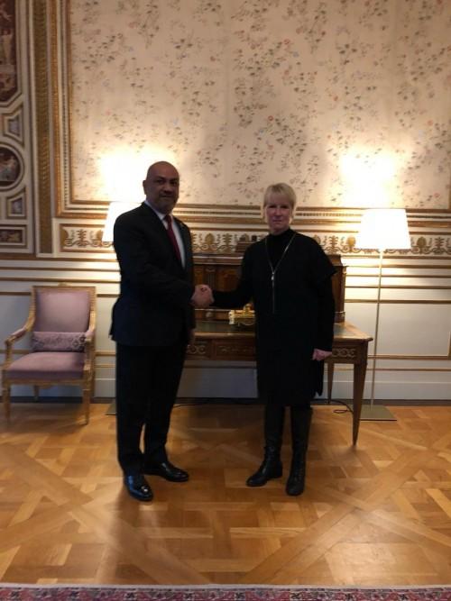 لقاء خاص بين اليماني ووزيرة خارجية السويد لهذا السبب