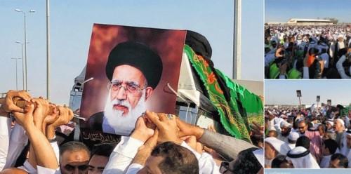 جنازة مهيبة لرجل دين شيعي بارز بالسعودية (صور)