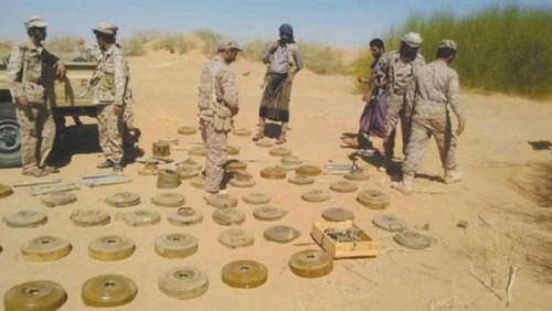 الجيش يواصل نزع ألغام المليشيا في دمت شمال الضالع