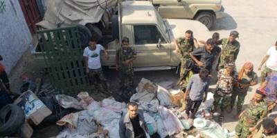 """أمن عدن: العثور على مخزن أسلحة بالبريقة """" تفاصيل """""""