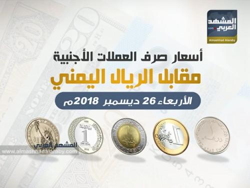 أسعار صرف العملات الأجنبية مقابل الريال اليمني اليوم الأربعاء 26 ديسمبر (انفوجرافيك)
