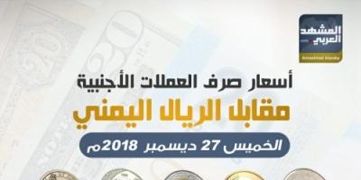 أسعار صرف العملات الأجنبية مقابل الريال اليمني اليوم الخميس 27 ديسمبر (انفوجرافيك)