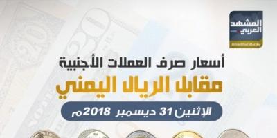تعرف على أسعار صرف العملات الأجنبية مقابل الريال اليمني مساء اليوم الإثنين 31 ديسمبر 2018م