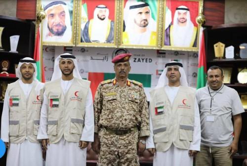 تفاصيل لقاء محافظ لحج بقيادات الهلال الأحمر الإماراتي