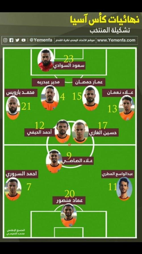 تعرف على تشكيلة المنتخب اليمني خلال مباراته أمام العراق