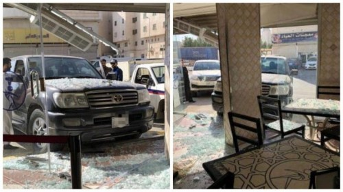 فتاة تقتحم مطعماً بسيارتها في السعودية (فيديو)