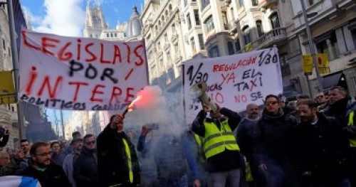 """إسبانيا.. خروج السائقين في مظاهرات احتجاجًا على """"أوبر"""""""