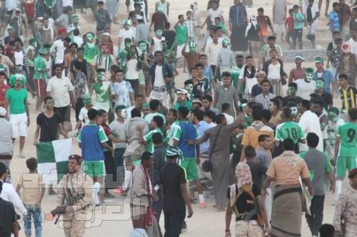 أعمال شغب وإطلاق نار بعد مباراة القطن وسمعون في كأس حضرموت (صور)