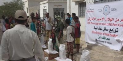 """""""الهلال الإماراتي"""" يسير قافلة إغاثة إلى أهالي مديرية أحور بمحافظة أبين"""