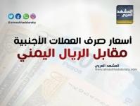 أسعار صرف العملات الأجنبية مقابل الريال اليمني مساء اليوم الإثنين 18 فبراير  (انفوجرافيك)