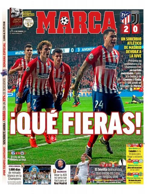 الصحف الإسبانية تحتفل بفوز أتلتيكو مدريد ضد يوفنتوس