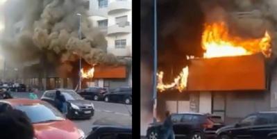 حريق ضخم في المركز التجاري بالدار البيضاء فى المغرب