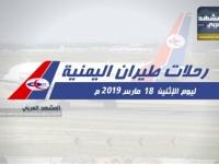 تعرف على مواعيد رحلات طيران اليمنية غداً الإثنين 18 مارس..( انفوجرافيك )