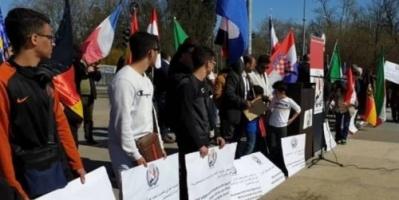 وقفة احتجاجية ضد انتهاكات المليشيات في حجور أمام مبنى الأمم المتحدة بجنيف