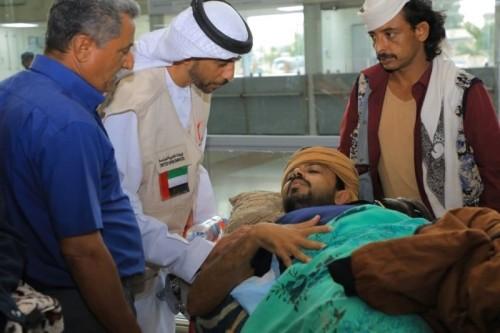 مغادرة 62 جريحًا مطار عدن للعلاج في الهند على نفقة الإمارات