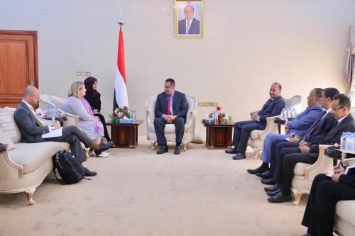 رئيس الوزراء اليمني يلتقي رئيس بعثة الاتحاد الأوروبي في عدن