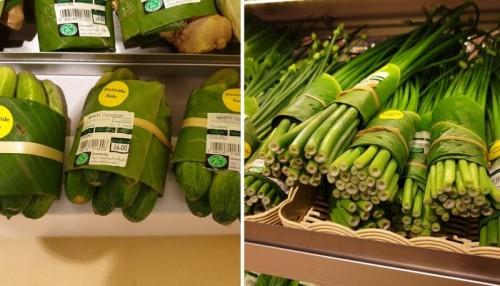 محل في تايلاند يستخدم أوراق الموز لتغليف المنتجات بدلا من البلاستيك (صور)