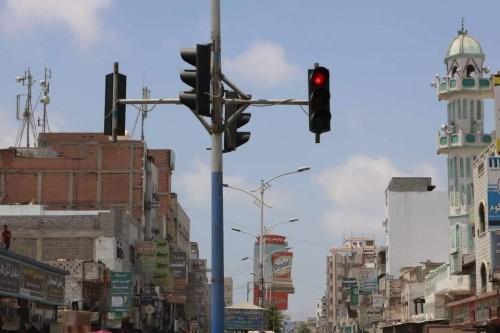 تدشين تشغيل الإشارات الضوئية المرورية بالشيخ غثمان