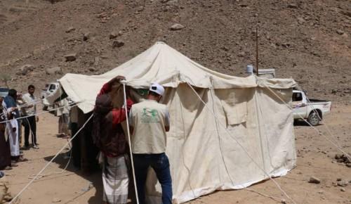 سلمان للإغاثة يوزع مساعدات إيوائية في مخيم الخانق بمديرية نهم