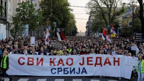 اندلاع مظاهرات مناهضة للحكومة في صربيا