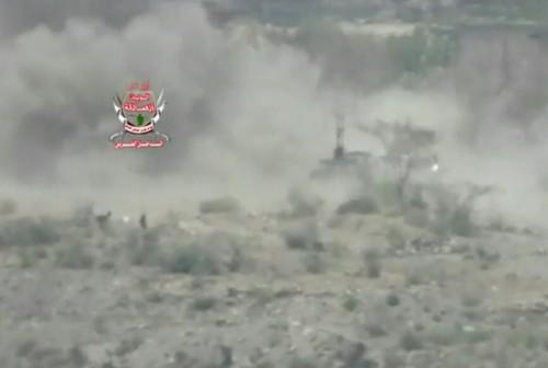 تدمير طقم عسكري حوثي في جبهة العود شمال الضالع (فيديو)