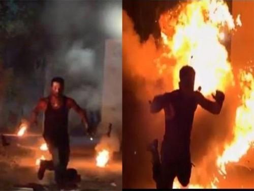 """انفجار حقيقي في كواليس فيلم """" حملة فرعون """" (فيديو)"""