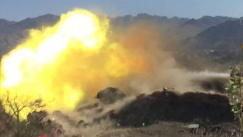 مدفعية القوات الجنوبية تقصف مواقع المليشيات في جبهة مريس شمالي الضالع