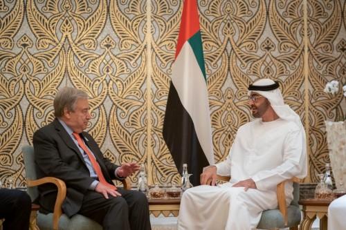 محمد بن زايد يعرب عن سعادته بلقاء الأمين العام للأمم المتحدة