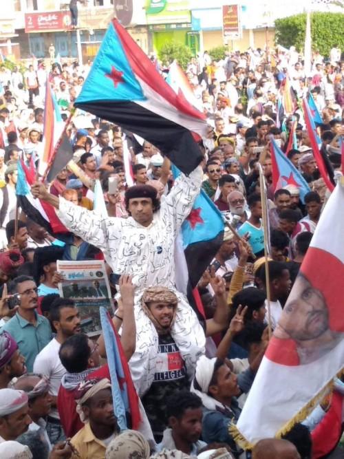 بالفيديو.. الآلاف بمليونية النصر يرددون النشيد الوطني الجنوبي