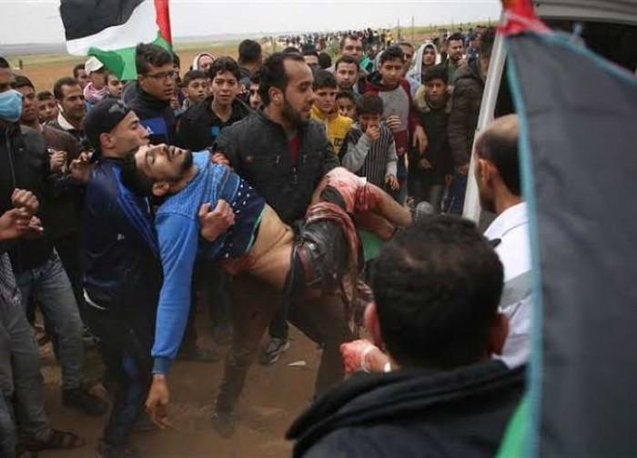 ارتفاع أعداد المصابين بغزة إلى 57 خلال قمع الاحتلال للمسيرات