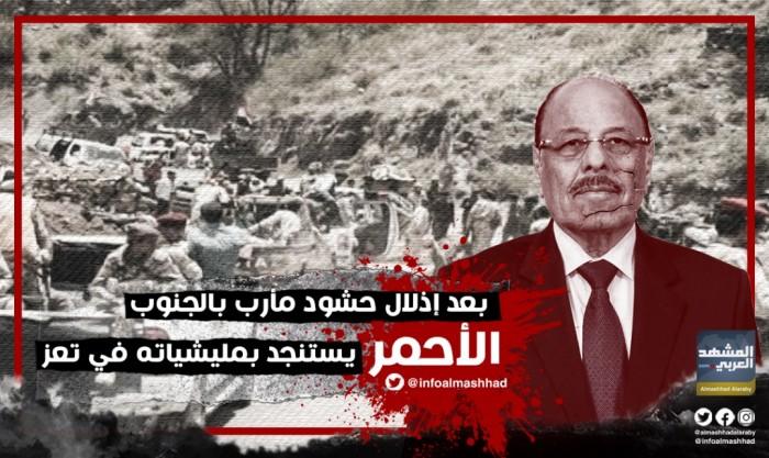 بعد إذلال حشود مأرب بالجنوب.. الأحمر يستنجد بمليشياته في تعز