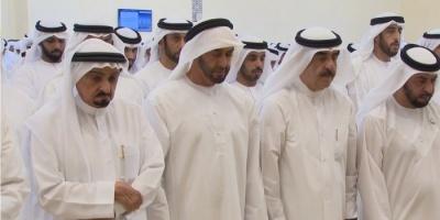 """ولى عهد أبو ظبي والحكام يؤدون صلاة الجنازة على جثمان شقيق """"أم الإمارات"""""""