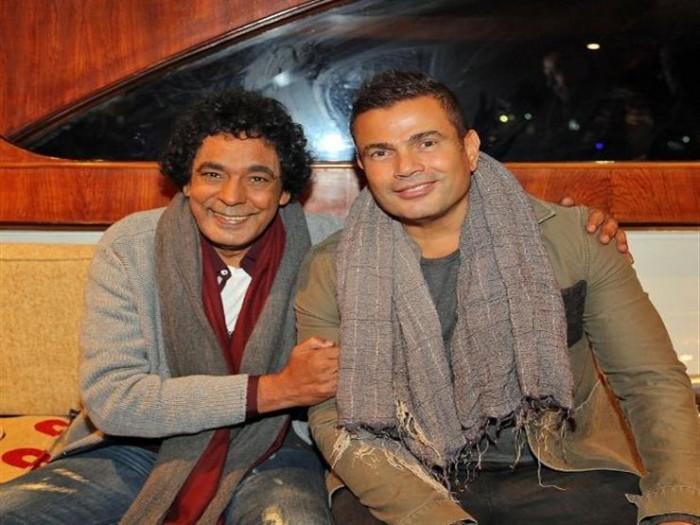 عمرو دياب يهنئ محمد منير بعيد ميلاده (صورة)