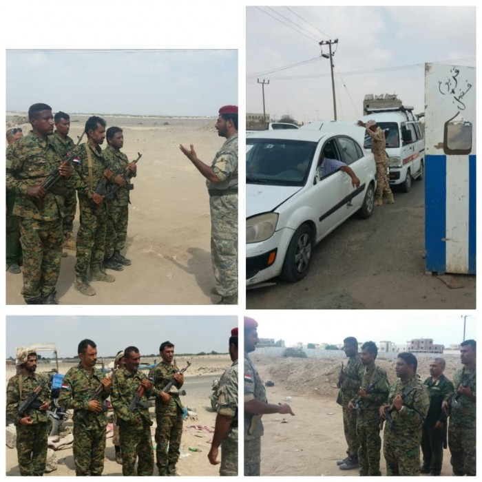فريق من الحزام الأمني يتفقد نقاط التفتيش بقطاع الشعب