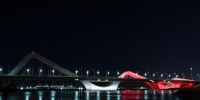 جسر الشيخ زايد يضئ بألوان علم مصر احتفاء بزيارة السيسي