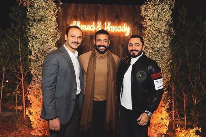 تامر حسني يحضر حفل خطوبة هنادي مهنا وأحمد خالد صالح (صور)