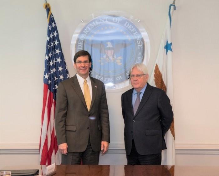 المبعوث الأممي لليمن يلتقي وزير الدفاع الأمريكي