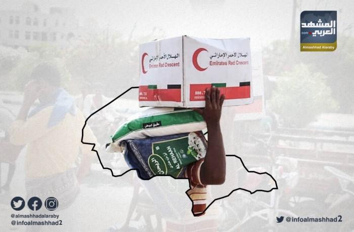 الهلال الأحمر الإماراتي يوزع مساعدات غذائية في حبان بشبوة (انفوجرافيك)