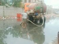ضخ المياه لدار سعد بعد إصلاح أنبوب الصرف الصحي