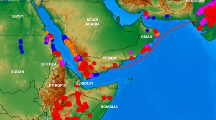 خريطة توضح أماكن تواجد الجراد باليمن والسعودية