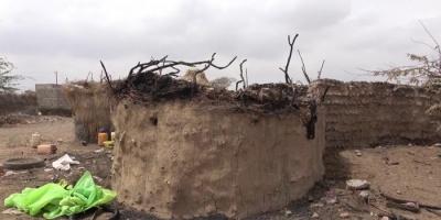 حريق منزل في اعتداء حوثي بحيس (فيديو)
